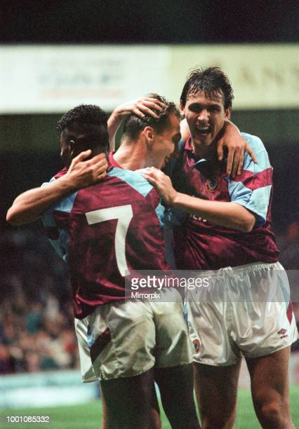 Cup 2nd round 1st leg match Aston Villa 2 0 Inter Milan held at Villa Park David Platt congratulated by teammates Tony Daley and Tony Cascarino after...