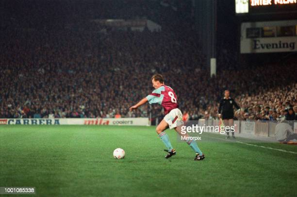 Cup 2nd round 1st leg match Aston Villa 2 0 Inter Milan held at Villa Park David Platt on the ball for Villa 24th October 1990