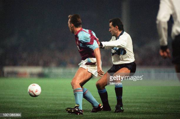 Cup 2nd round 1st leg match Aston Villa 2 0 Inter Milan held at Villa Park David Platt on the ball 24th October 1990