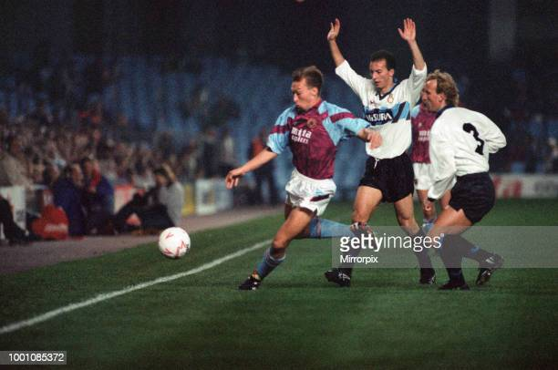 Cup 2nd round 1st leg match Aston Villa 2 0 Inter Milan held at Villa Park David Platt on the ball watched by Inter defenders including Andreas...