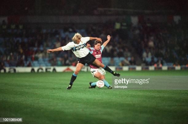 Cup 2nd round 1st leg match Aston Villa 2 0 Inter Milan held at Villa Park Jurgen Klinsmann of Inter challenged for the ball by Stuart Gray 24th...