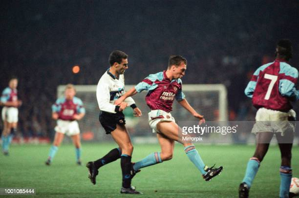 Cup 2nd round 1st leg match Aston Villa 2 0 Inter Milan held at Villa Park David Platt watched closely by Giuseppe Bergomi 24th October 1990
