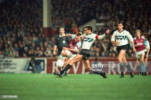 Cup 2nd round 1st leg match Aston Villa 2 0 Inter Milan held at Villa Park David Platt is challenged by Inter captain Giuseppe Bergomi watched by...