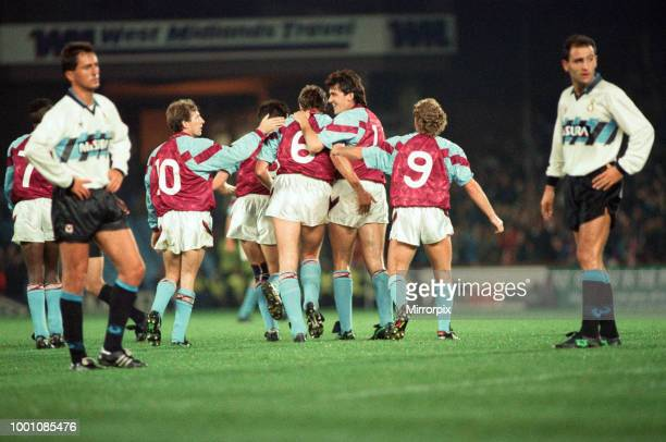 Cup 2nd round 1st leg match Aston Villa 2 0 Inter Milan held at Villa Park Celebrations for Vila players Gordon Cowans David Platt Kent Nielsen Tony...