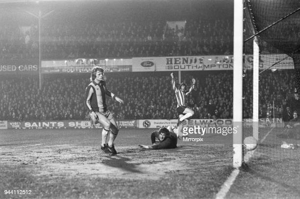 Cup 5th Round Replay match at The Dell, Southampton 4-0 West Bromwich Albion, Mike Channon celebrates his first minute opener past defeated...