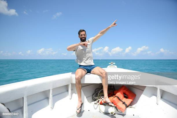 UEFA cup ambassador Ruud Van Nistelrooy is interviewed off the shore of Pier One on March 23 2017 in Montego Bay Jamaica