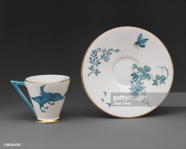 Cup and saucer British, Stoke-on-Trent, Staffordshire, Porcelain, Height : 2 3/8 in. ; Diameter : 5 1/4 in. , Ceramics-Porcelain.