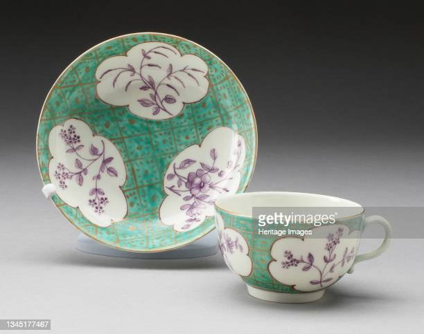 Cup and Saucer, Worcester, circa 1770. Artist Royal Worcester.