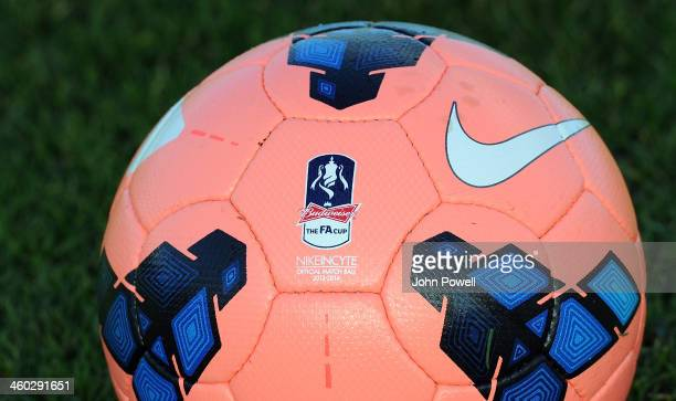 FA Cup ball ahead of the Liverpool v Oldham game during a training session at Melwood Training Ground on January 3 2014 in Liverpool England