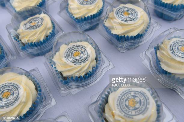 Cup Cakes bearing the Leicester City logo are pictured ahead of the English Premier League football match between Leicester City and Sunderland at...