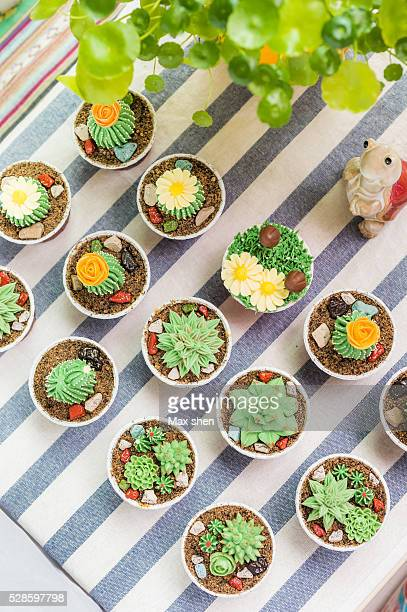 Cup cakes decorated to look like little cactus