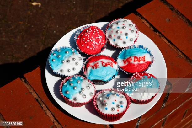 Cup Cakes made by local residents to celebrate the 75th Anniversary of Victory in Europe on display outside a house on May 08 2020 in Altrincham...