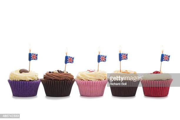 Cup cakes with union jack candles