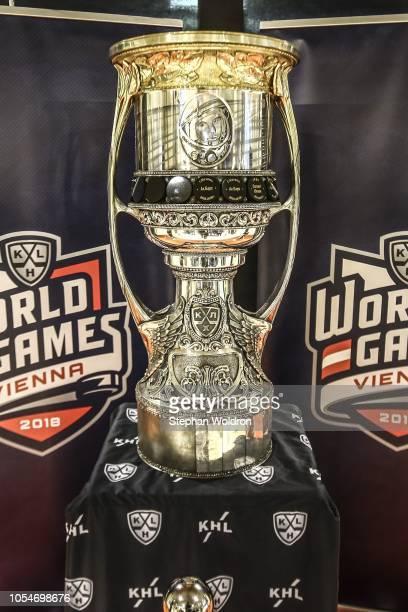 Cup during the Slovan Bratislava v SKA St. Petersburg - KHL World Games 2018 at Erste Bank Arena on October 28, 2018 in Vienna, Austria.
