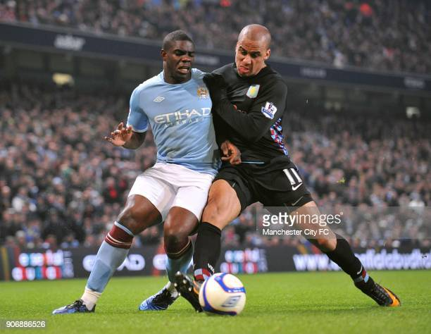 FA Cup Fifth Round Manchester City v Aston Villa City of Manchester Stadium Manchester City's Micah Richards and Aston Villa's Gabriel Agbonlahor...