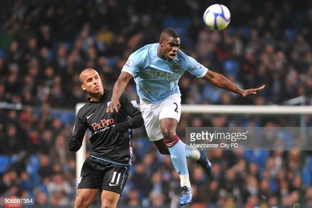 FA Cup Fifth Round Manchester City v Aston Villa City of Manchester Stadium Manchester City's Micah Richards beats Aston Villa's Gabriel Agbonlahor...