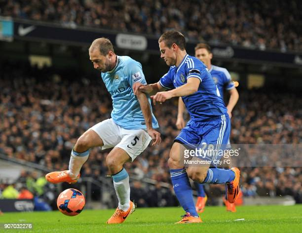 FA Cup Fifth Round Manchester City v Chelsea Etihad Stadium Manchester City's Pablo Zabaleta and Chelsea's Cesar Azpilicueta battle for the ball