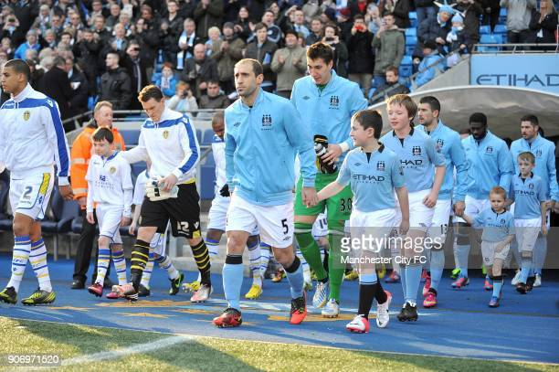 FA Cup Fifth Round Manchester City v Leeds United Etihad Stadium Manchester City's Pablo Zabaleta makes his way out with teammates for the start of...