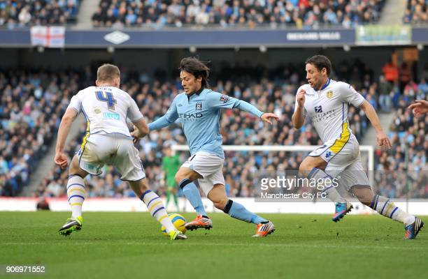 FA Cup Fifth Round Manchester City v Leeds United Etihad Stadium Manchester City's David Silva runs at Leeds United's Tom Lees and Michael Brown