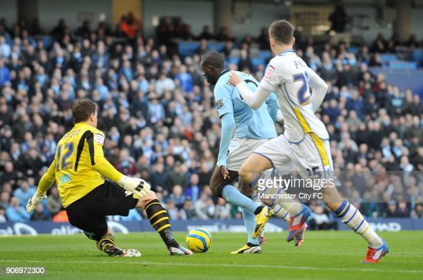 FA Cup Fifth Round Manchester City v Leeds United Etihad Stadium Manchester City's Yaya Toure rounds Leeds United goalkeeper Jamie Ashdown to score...