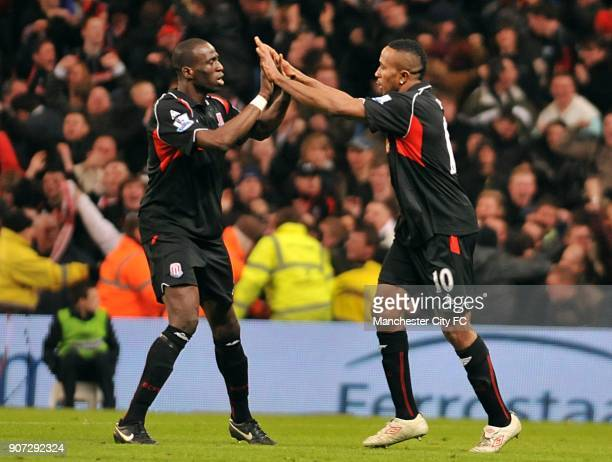 FA Cup Fifth Round Manchester City v Stoke City City of Manchester Stadium Stoke City's Ricardo Fuller celebrates with teammate Mamady Sidibe after...