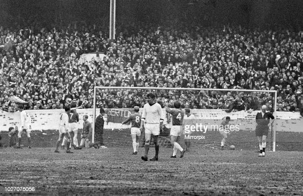 Cup Fifth Round match at Goodison Park. Everton 2 v Tranmere Rovers 0. Celebrations after Johnny Morrissey scored the second goal of the match. 9th...