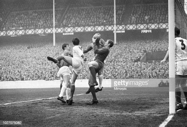 Cup Fifth Round match at Goodison Park. Everton 2 v Tranmere Rovers 0. Tranmere goalkeeper Jim Cumbes goes up high to grab a high ball under...