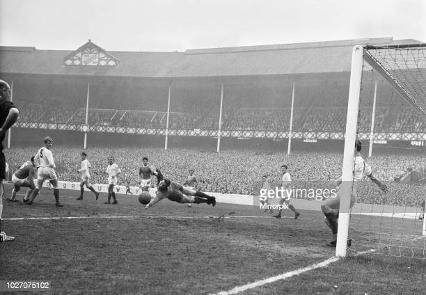 Cup Fifth Round match at Goodison Park. Everton 2 v Tranmere Rovers 0. Tranmere goalkeeper Jim Cumbes makes a flying save from an Everton forward....