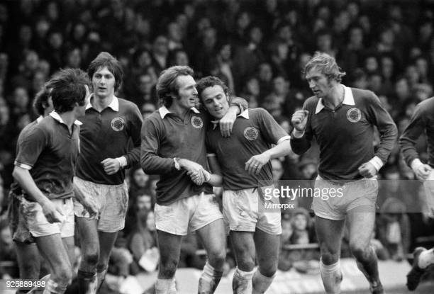 Cup Fifth Round match at Kenilworth Road. Luton Town 0 v Leicester City 4. Leicester players left to right: Jon Sammels, Malcolm Munro, Len Glover,...