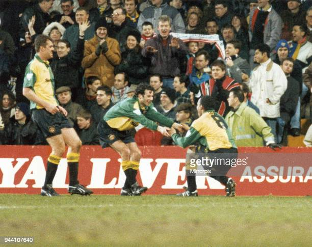 Cup fifth round match at Selhurst Park, Wimbledon 0 v Manchester United 3, United's Ryan Giggs celebrates with goalscorer Paul Ince, joined by Gary...