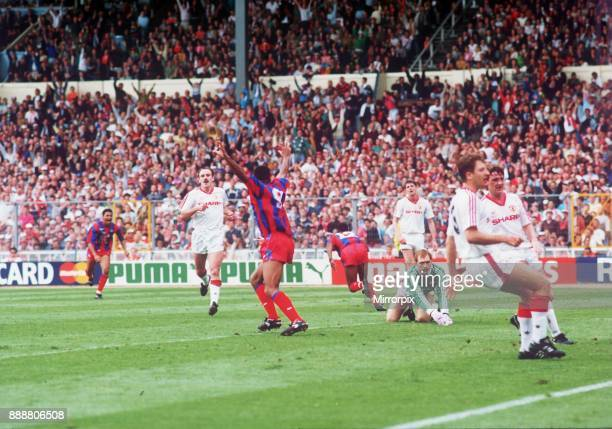 FA Cup Final 1990 Crystal Palace 3 Manchester United 3 Draw Picture Shows Ian Wright scoring for Palace Ian Wright scored 2 goals in the match