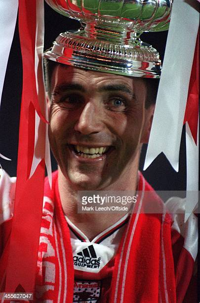 Cup Final Replay Arsenal v Sheffield Wednesday Goalscorer Andy Linighan celebrates winning the FA Cup with Arsenal