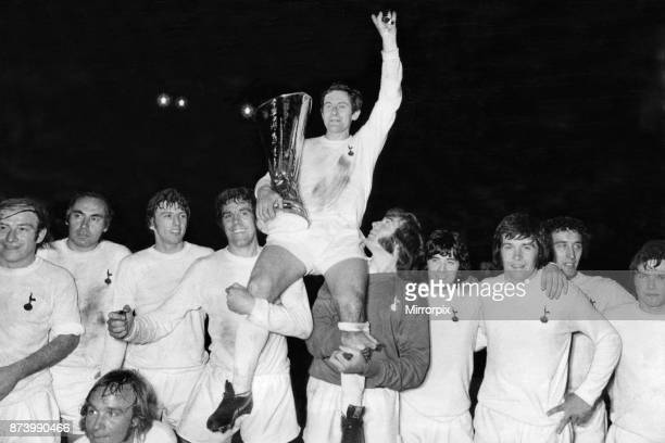 Cup Final Second Leg match at White Hart Lane. Tottenham Hotspur 1 v Wolverhampton Wanderers 1. . Spurs captain Alan Mullery sits on the shoulders of...