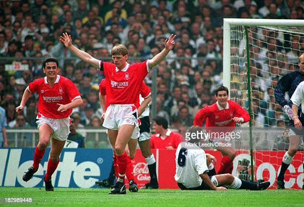 Cup Final Wembley Nottingham Forest v Tottenham Hotspur Nigel Clough turns to celebrate after Stuart Pearce had scored for Forest