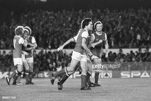 Cup First Round First Leg match at Highbury Arsenal 3 v FC Leipzig 0 Celebrations for Arsenal after one of their three goals 13th September 1978