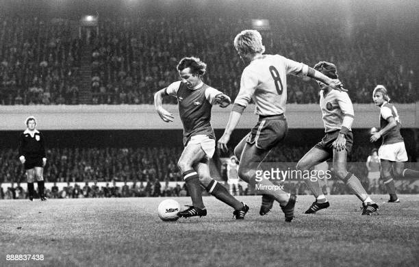 Cup First Round First Leg match at Highbury Arsenal 3 v FC Leipzig 0 Liam Brady on the ball for Arsenal 13th September 1978
