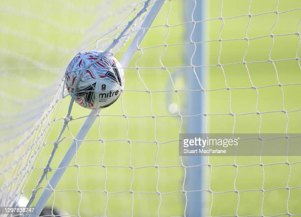Cup football hits the back of the net during a training session at London Colney on January 22, 2021 in St Albans, England.