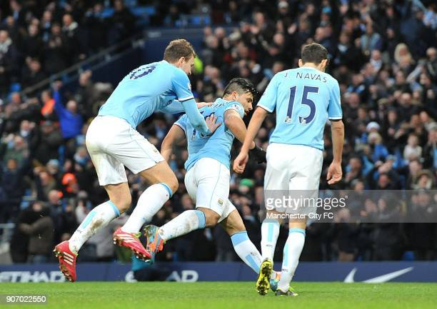 FA Cup Fourth Round Manchester City v Watford Etihad Stadium Manchester City's Sergio Aguero celebrates scoring his teams second goal of the game...