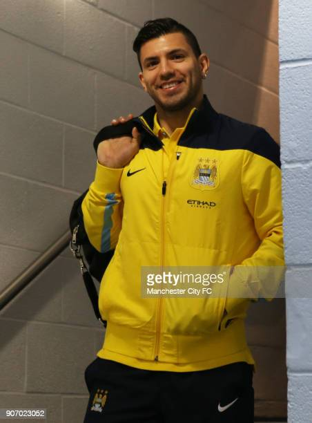 FA Cup Fourth Round Manchester City v Watford Etihad Stadium Manchester City's Sergio Aguero smiles for the camera as he makes his way to the...