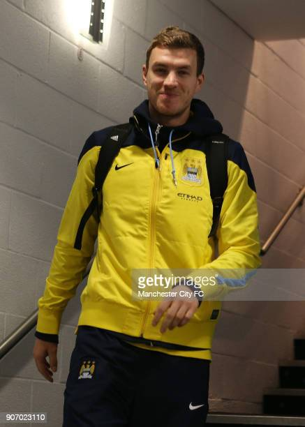 FA Cup Fourth Round Manchester City v Watford Etihad Stadium Manchester City's Edin Dzeko smiles for the camera as he makes his way to the changing...