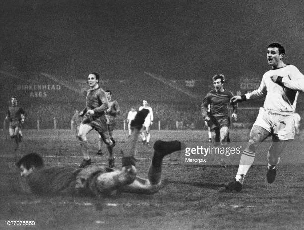 Cup Fourth Round replay match at Prenton Park. Tranmere Rovers 2 v Coventry City 0. Tranmere's George Hudson fires in a left foot shot past diving...