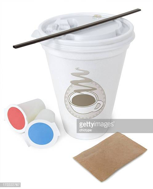 cup from coffee shop with stirrer and cream packets - styrofoam stock photos and pictures