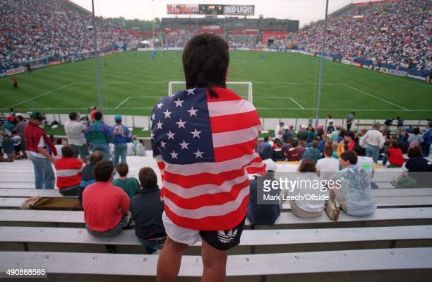 Cup International Football USA v England A US Fan draped in a flag looks out over the Foxboro Stadium in Boston
