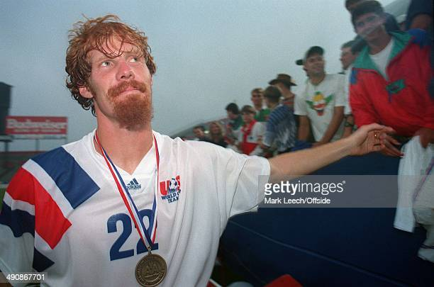 Cup International Football USA v England Alexi Lalas celebrates with the US fans