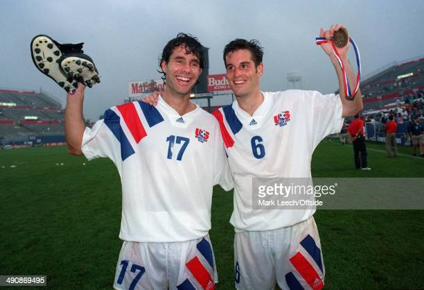 Cup International Football, USA v England, Roy Wegerle and John Harkes celebrate victory.