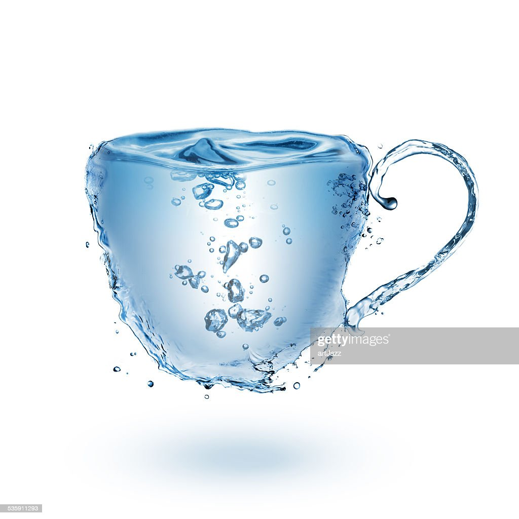 Cup made of water isolated on white : Stock Photo