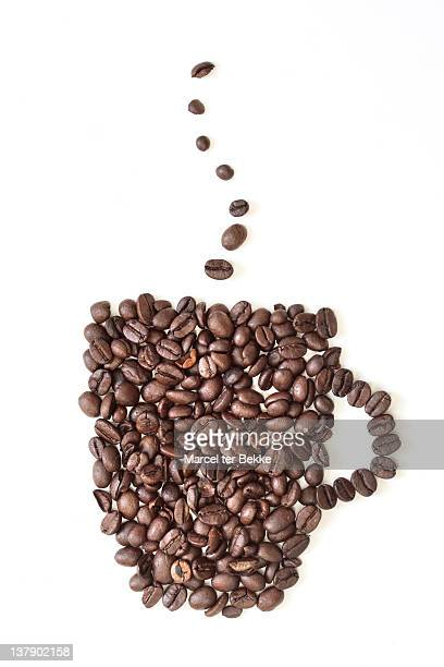 Cup madeup of coffeebeans