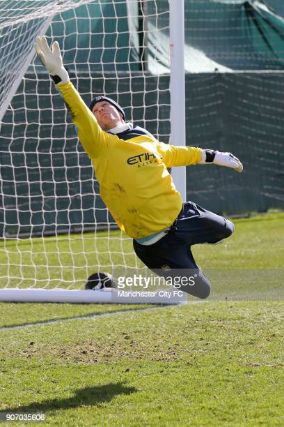 FA Cup Manchester City v Wigan Training Carrington Training Ground Manchester City's Joe Hart makes a save during training at Carrington