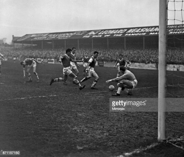 FA Cup match Walsall FC 2 3 Peterborough United FC held at Fellows Park Daley Peterborough goalie in a tussle with Tony Richards of Walsall with...