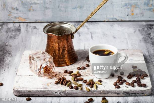 Cup of Arabian Coffee and ingredients